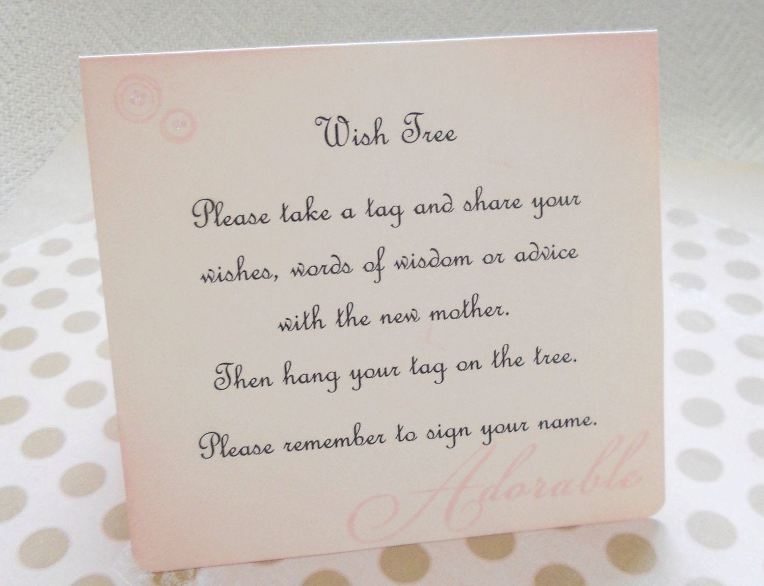 Wish Card Instruction Sign Baby Shower Tree