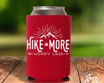Hike More Worry Less Can Cooler - hiking, hiker gift, trail hiking, drink cooler, beer cooler