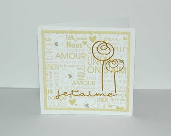 "Card Valentine's day ""I love you"" - beige and gold flowers"