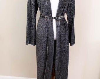 90s Black and Silver Metallic Cardigan - M/L - Long Cardigan - Vintage Duster - 90s Duster - 90s Clothing - 90s Jacket - Witchy - Goth