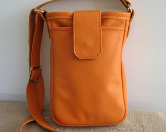 Bucket Bag - Deep Orange Leather Crossbody Bag w Long Adjustable Strap - Three Big Pockets - Groovy Boho Styling
