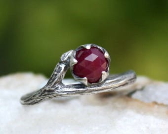 Ruby gemstone ring-twig ring-rose cut-sterling silver-branch organic ring-handmade-July Birthstone-made to order