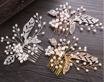 Silver/Gold/Rose gold Floral Bridal Comb,Floral Wedding Comb,Bridal Hair Comb,flower pearl Hair Comb,Pearl Comb,Bridal Headpiece FS138