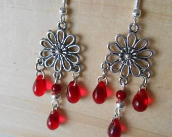 BO 486 - Earrings red and Silver Flower rosette
