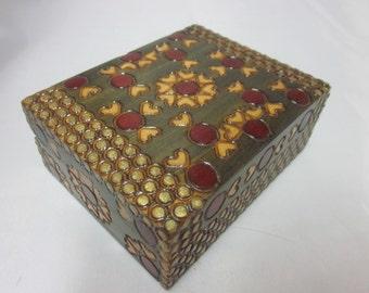 """Poland Folk Art Polish Wood Box Hinged Hearts Dots 4"""" by 3"""" by 1.5"""" Small Jewelry Trinket Treasure"""