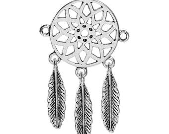 Native American Dreamcatcher connector charm and silver metal feathers