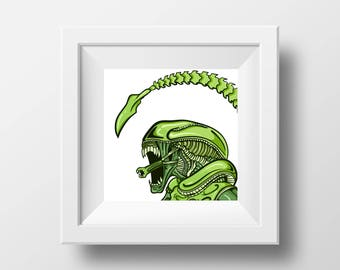 Green Xenomorph Pop Art Print // Home Decor // Wall Art // Original