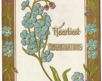 1910 Old Vintage Postcard, Blue Flowers, Danube, Campbell, Minnesota, 1c Stamp