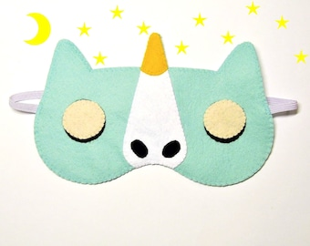 Sleep mask Unicorn felt blue ice Pajamas Spa night sleep party favors animal birthday soft eye sleeping accessory Gift for girl kids her him