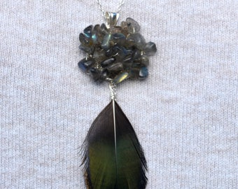 Natural silver Peacock feather necklace pendant and Labradorite gem stone / / crochet jewelry / / Christmas gift woman 2015