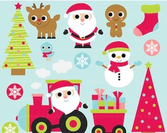 christmas clip art digital clipart santa reindeer snowman - Santa and Friends Digital Clip Art - BUY 2 GET 2 FREE