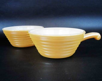 Vintage Fire King Lusterware Oven Crocks. Set of Two. Circa 1950's.