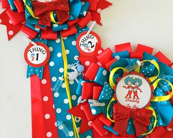 Cat in the hat mommy and Daddy to be corsage- thing 1 thing 2 baby shower- dr seuss corsage- dr seuss baby shower- dr seuss corsage