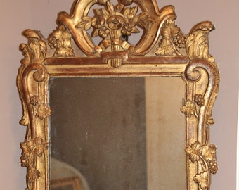 French antique mirror Provence mirror Provence style Gold mirror Gold frame mirror Carved wood frame Wall mirror French style mirror decor