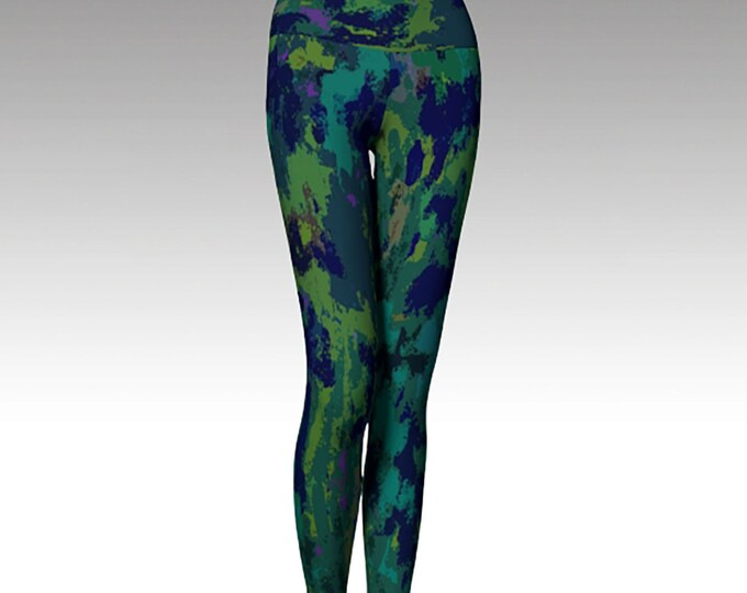 Lush Life, Blue and Green Leggings, Printed Leggings, Yoga Pants, Leggings, Women's Leggings,