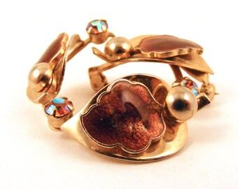 Vintage Enamel Leaf & Rhinestone Circle Brooch Gold Toned Pin Fall Autumn Fashion Accesory