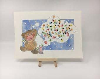 Teddy Bear and Fairy Lights