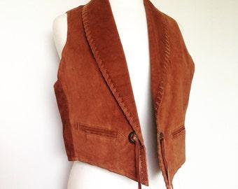 Boho Hippie Western Brown Suede Leather Vintage Festival Style Vest