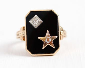Vintage OES Ring - 14k Rosy Yellow Gold Order of the Eastern Star Black Onyx Diamond Statement - Size 5 1/2 Enamel Chuch & Co Fine Jewelry