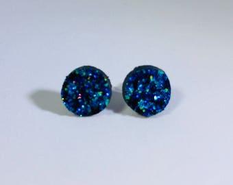 10mm Blue Textured Druzy Stud Earrings
