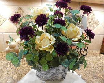 Silk flower arrangement, Purple Flower arrangement, Flower centerpiece