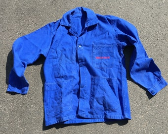 French Workwear jacket in soft cotton with company name on pocket