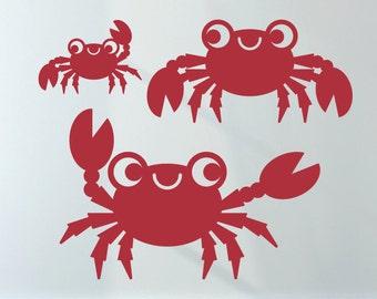 Happy Crab Wall Decals: Ocean Baby Under the Sea Nursery Underwater Sea Life Kids Beach Room Decor