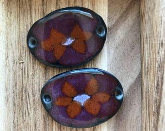 Shades of pomegranate and persimmon bracelet link, Layers of Glaze Porcelain Curved Bracelet Elements, Link, Bracelet Link, Bracelet compone