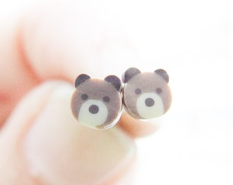 Teddy Bear Earrings, Cute Bears Studs, Girly Adorable Brown Bears Post Earrings