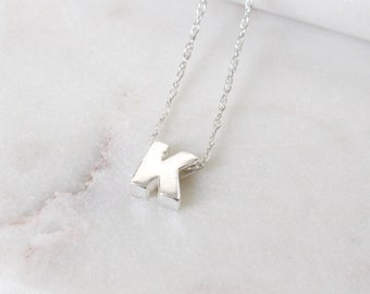 Sterling Silver Initial K Pendant Necklace • Letter Necklace • Initial Pendant • Initial Jewellery • Personalised Initial Necklace