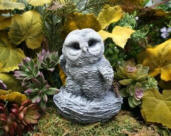 Concrete Owl Statue - Large Baby Owlette In Nest - Outdoor Concrete Decor - Owl Totem Garden Art
