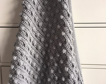 Melu Crochet US terminology Modern Bobble Blanket pattern Baby Blanket and throw