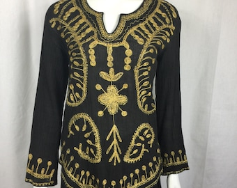 SALE Vtg 70s embroidered ethnic black and gold gauze india dress top