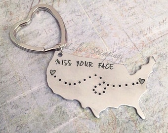 I Miss Your Face Long Distance Keychain - Best Friends Keychain - Sister Keychain - Compass - Long Distance Keychain - Home - Couple