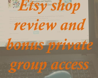 Etsy shop critique and SEO review with bonus private group access for ongoing support, how to get more traffic to your Etsy shop.