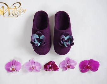 falted slippers - Eco-friendly - healthy & comfortable - felted orchid