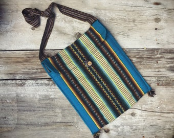 Woven Blanket Purse Blue and Black, Lightweight Hippie Boho Mexican Ethnic Cross Body Stash Bag