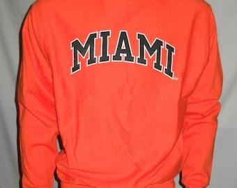 New MIAMI HURRICANES sweatshirt, Steve and Barrys Miami shirt, longsleeve shirt, vintage, 90s logo, hip-hop, old school NFL, size S, nwt