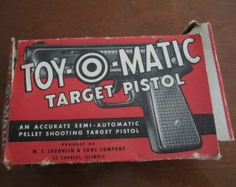 Vintage Toy-O-Matic Target Pistol Box. For display, Mixed Media, Scrapping,  Collection