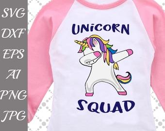 "Unicorn Squad Svg: ""UNICORN DAB SVG"" Funny Unicorn Svg,Dab Svg,Rainbow Dabbing,Dabbing tshirt Svg,Silhouette Cut Files,Cameo Svg,Dxf file"