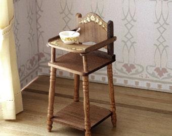 Infant walnut wood highchair, handmade and handpainted 1:12 scale miniature dollhouse. Artisan