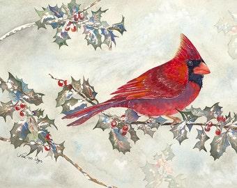 Cardinal and Holly 11x14 Giclee Print - Clearance