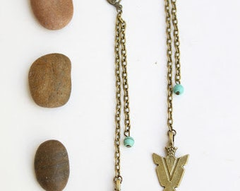 Beautiful Tribal Boho chic long Bronze Arrowhead earrings Native American inspired Free people style Bohemian Handmade