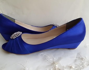 Blue Wedge Wedding Shoes   Pick Your Color! Shown In Royal Blue But Over  100 Color Choices Available   Wedding Shoes