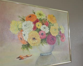 Vintage Oil Painting Still Life Floral Oil On Canvas Painting Oil Painting Vintage Painting Hand Painted Floral Wall Art