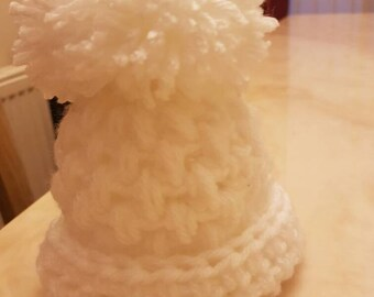 Baby crochet hats with big pompom