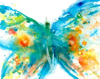buttterfly watercolor print signed by artist Stephanie Kriza