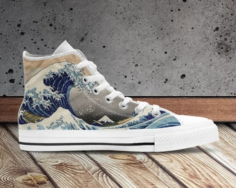 The Great Wave off Kanagawa High Top Shoes for Men and Women. Japan Art Canvas Shoes.  Japanese Art Sneakers