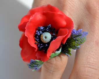 RED POPPY STATEMENT Adjustable Ring - Poppies Jewelry - One of a Kind Unique Original  Large Red Poppy Jewelry