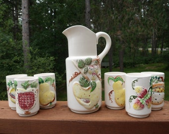 Vintage Juice Pitcher and 6 matching juice glasses, Ceramic Jiuce pitcher & glasses